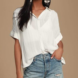 Everlee White Striped Button-Up Top